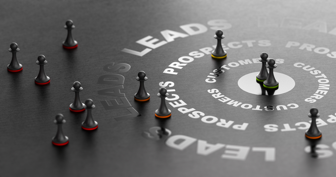 A concept creating a B2B sales strategy playbook - 3D illustration of chess pieces over a black background of sales elements.