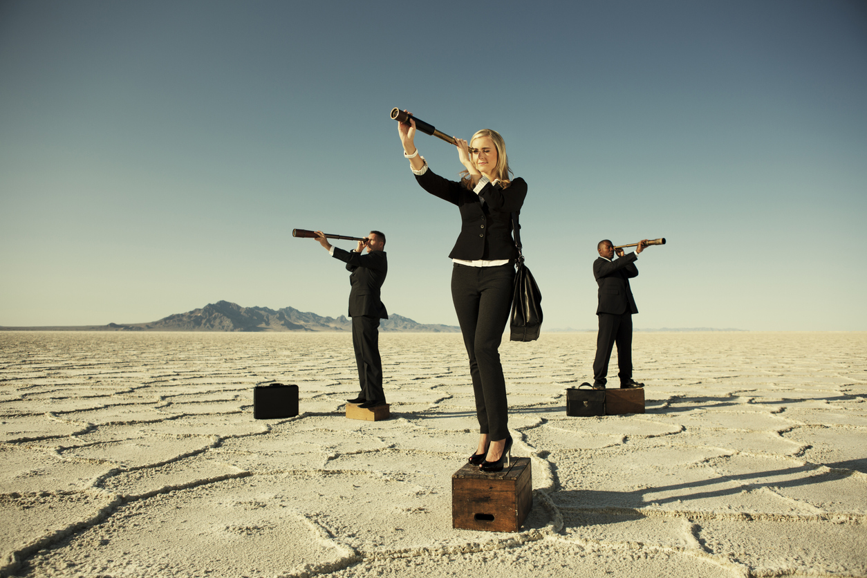 Sales prospecting concept, a team of sales representatives looking for their company's prospective consumers.