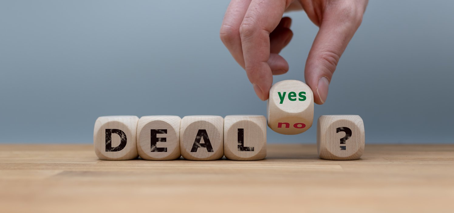 A B2B sales concept, showing blocks that spell out agreement or disagreement about a deal.